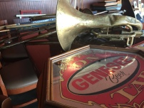"""""""There was a lot of stuff on the walls,"""" said Crago. Including old instruments including trumpets, trombones, clarinets and guitars have hung on the walls for years, true antiques pulled out of storage. (Clare Bonnyman/ CBC)"""